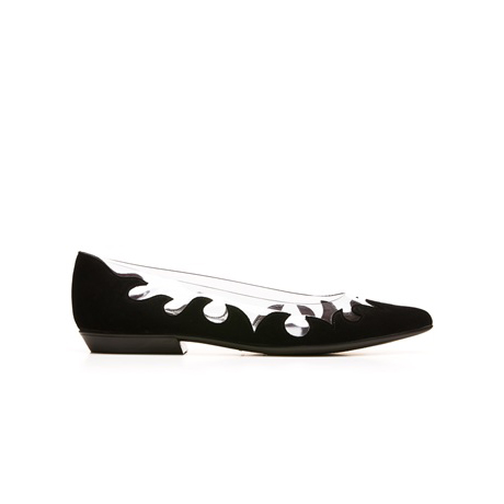 STUART WEITZMAN THE SCROLLY FLAT Black Suede