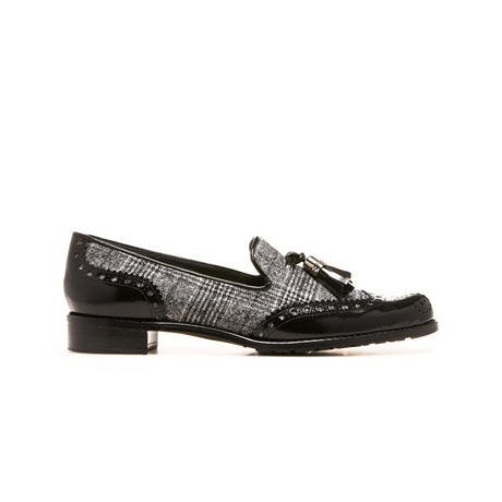 STUART WEITZMAN THE GUYTHING LOAFER Charcoal Plaid Wool