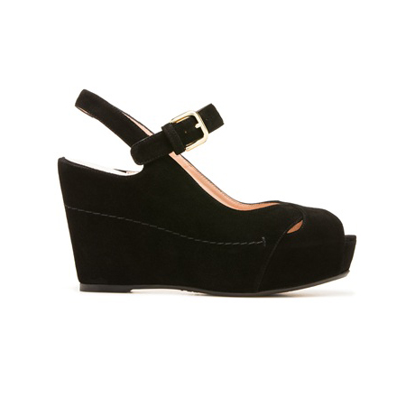 STUART WEITZMAN THE TURNOVER WEDGE Black Suede