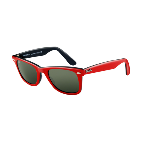 Ray Ban RB2140 Wayfarer Sunglasses Top Red Frame Crystal Green L