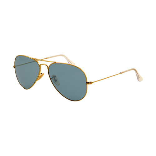 Ray Ban RB3025 Aviator Sunglasses Gold Frame Crystal Blue Lens