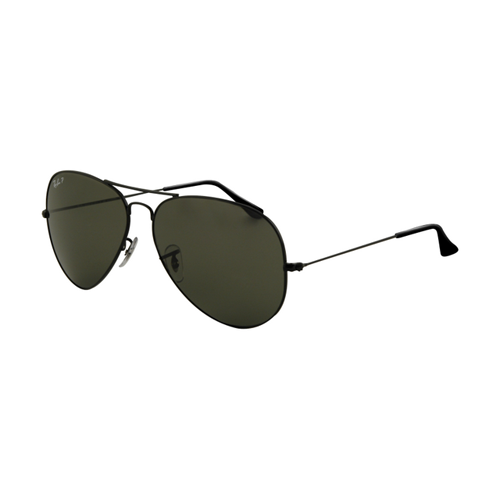Ray Ban RB3025 Aviator Sunglasses Black Frame Crystal Green Lens