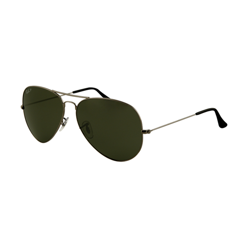Ray Ban RB3025 Aviator Sunglasses Gunmetal Frame Crystal Green L