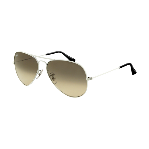 Ray Ban RB3025 Aviator Sunglasses White Frame Crystal Gray Gradi