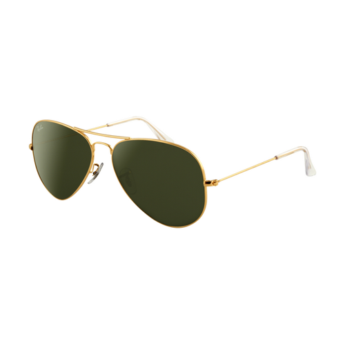 Ray Ban RB3025 Aviator Sunglasses Gold Frame Crystal Light Green