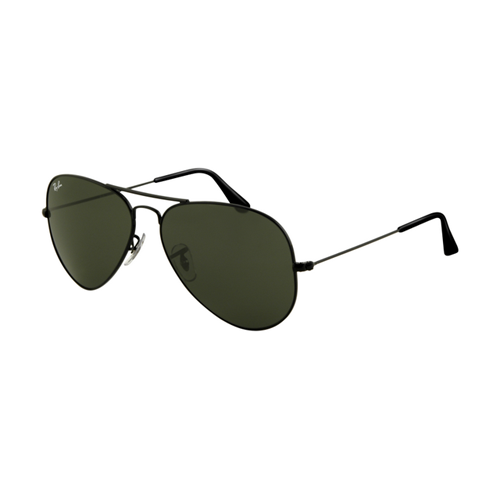 Ray Ban RB3025 Aviator Sunglasses Shiny Black Frame Crystal Deep
