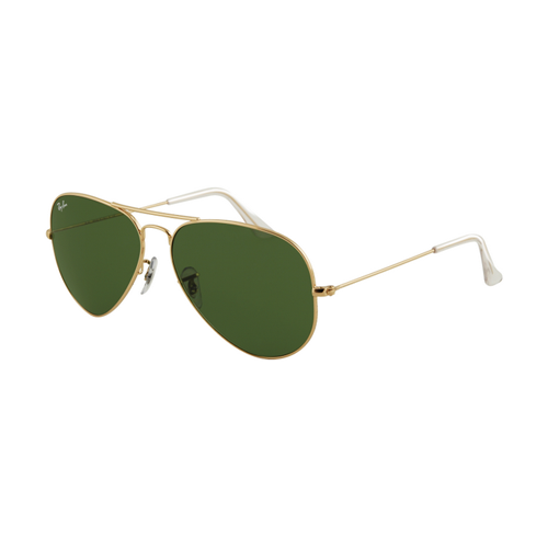 Ray Ban RB3025 Aviator Sunglasses Gold Frame Crystal Green Lens