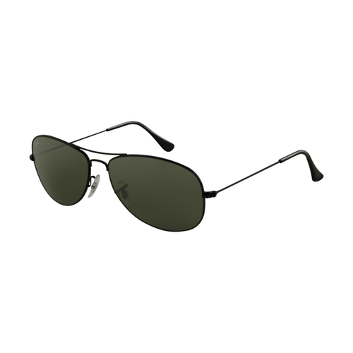 Ray Ban RB3362 Sunglasses Shiny Black Frame Crystal Green Polari