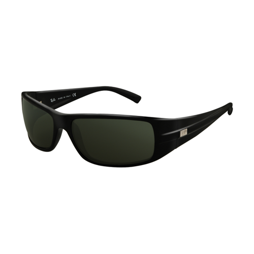 Ray Ban RB4057 Sunglasses Glossy Black Frame Crystal Green Lens