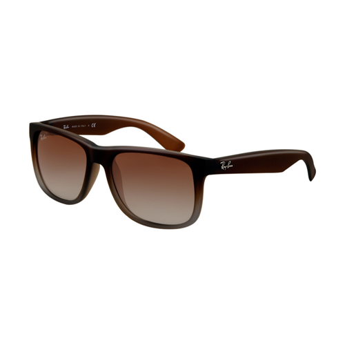 Ray Ban RB4165 Justin Sunglasses Rubber Brown on Grey Frame Gree