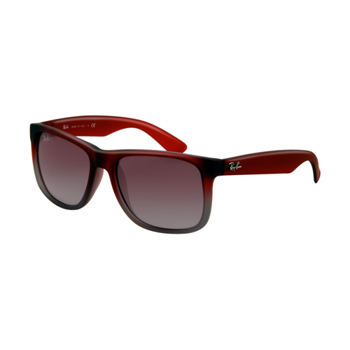 Ray Ban RB4165 Justin Sunglasses Rubber Red with Transparent Gre