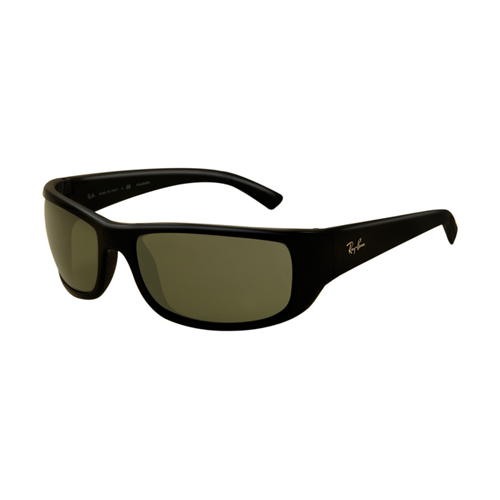 Ray Ban RB4176 Sunglasses Shiny Black Frame Light Green Polarize