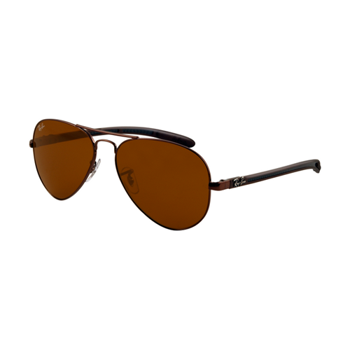 Ray Ban RB8307 Tech Sunglasses Shiny Black Frame Crystal Brown L