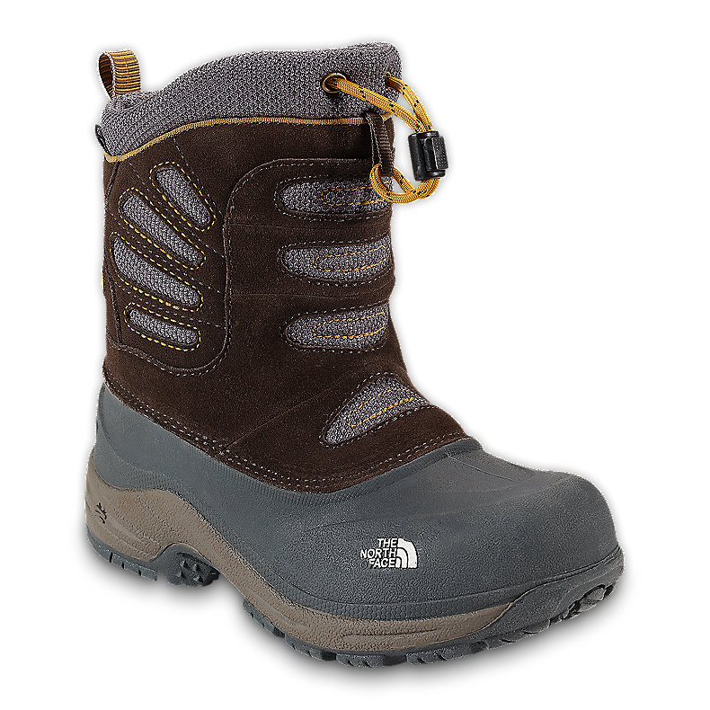 NORTH FACE BOYS SNOW PLOUGH PULL-ON BOOT COFFEE BROWN / ALGAE YELLOW