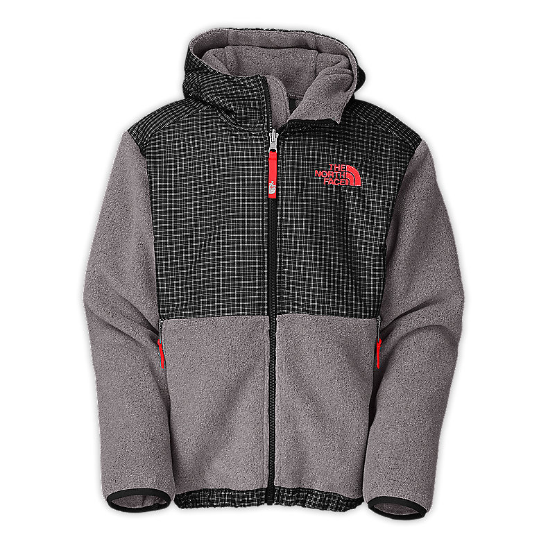 NORTH FACE BOYS DENALI HOODIE CHARCOAL GREY HEATHER / FIERY RED