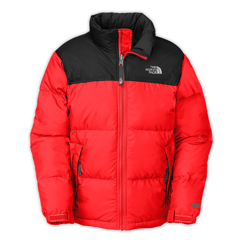 NORTH FACE BOYS NUPTSE JACKET FIERY RED / TNF BLACK
