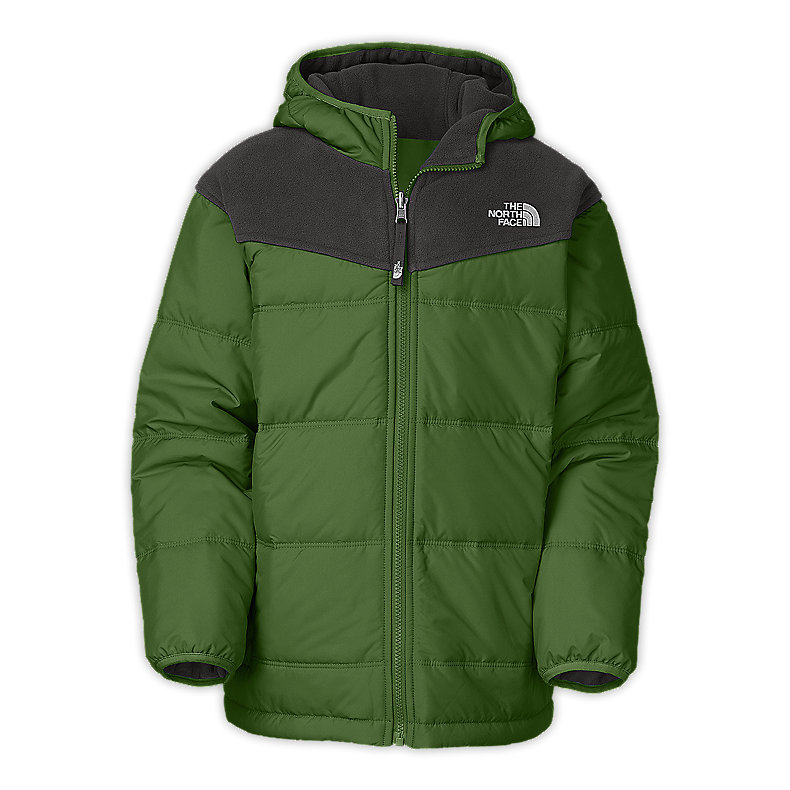 NORTH FACE BOYS REVERSIBLE TRUE OR FALSE JACKET CONIFER GREEN / GRAPHITE GREY