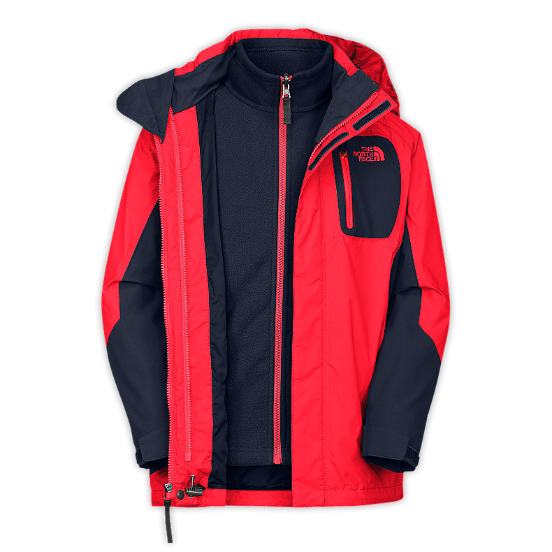 NORTH FACE BOYS ATLAS TRICLIMATE JACKET FIERY RED