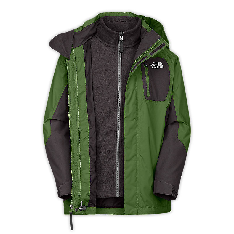 NORTH FACE BOYS ATLAS TRICLIMATE JACKET CONIFER GREEN