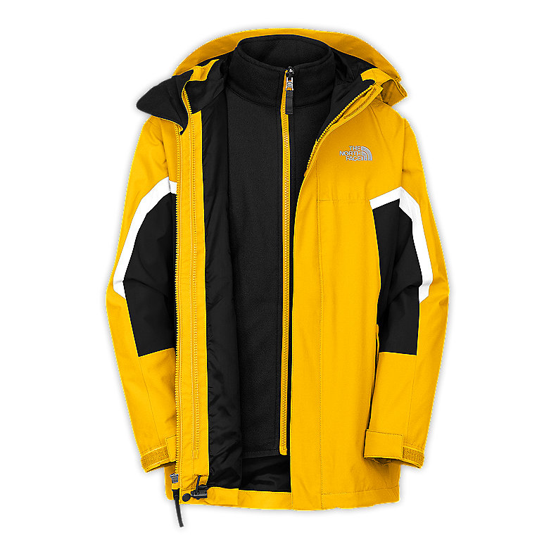 NORTH FACE BOYS NIMBOSTRATUS TRICLIMATE JACKET LEOPARD YELLOW