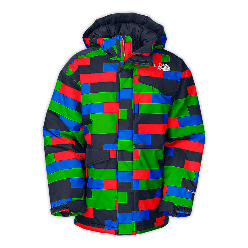 NORTH FACE BOYS INSULATED BLAEKE JACKET FIERY RED PRINT