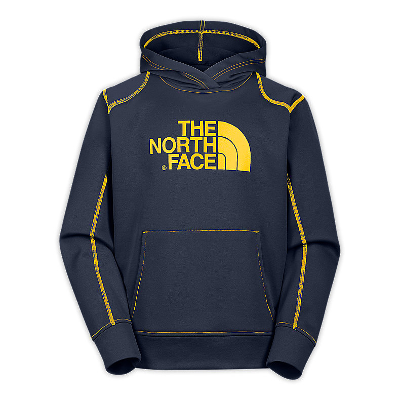 NORTH FACE BOYS SURGENT PULLOVER HOODIE DEEP WATER BLUE / LEOPARD YELLOW