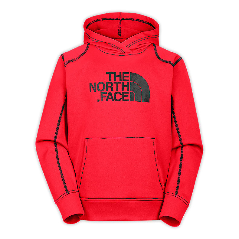 NORTH FACE BOYS SURGENT PULLOVER HOODIE FIERY RED / TNF BLACK