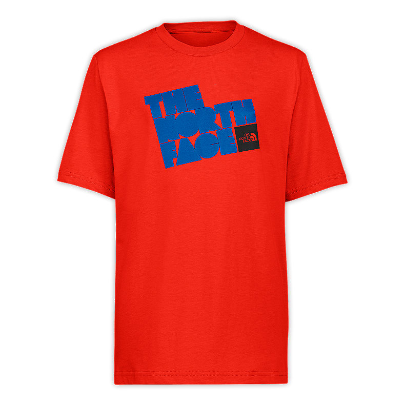 NORTH FACE BOYS S/S TIME OUT TEE PAPRIKA RED