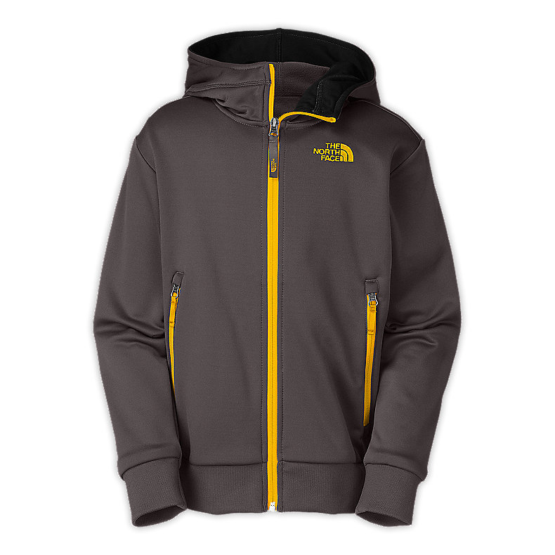 NORTH FACE BOYS URBAN NINJA FULL ZIP HOODIE GRAPHITE GREY / LEOPARD YELLOW