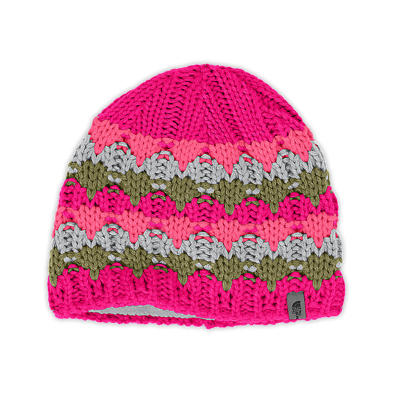 NORTH FACE GIRLS LIZZY BIZZY BEANIE RAZZLE PINK