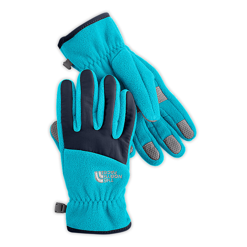 NORTH FACE GIRLS DENALI GLOVE TURQUOISE BLUE / DEEP WATER BLUE