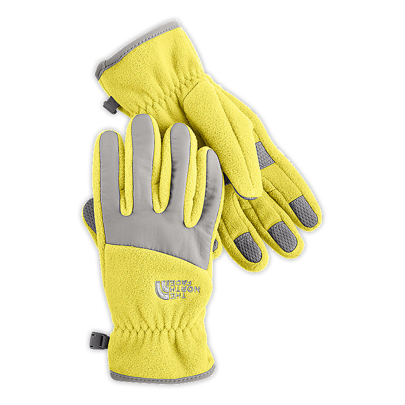 NORTH FACE GIRLS DENALI GLOVE STINGER YELLOW / METALLIC SILVER