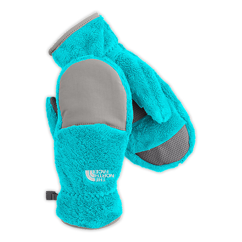 NORTH FACE GIRLS DENALI THERMAL MITT TURQUOISE BLUE / METALLIC SILVER