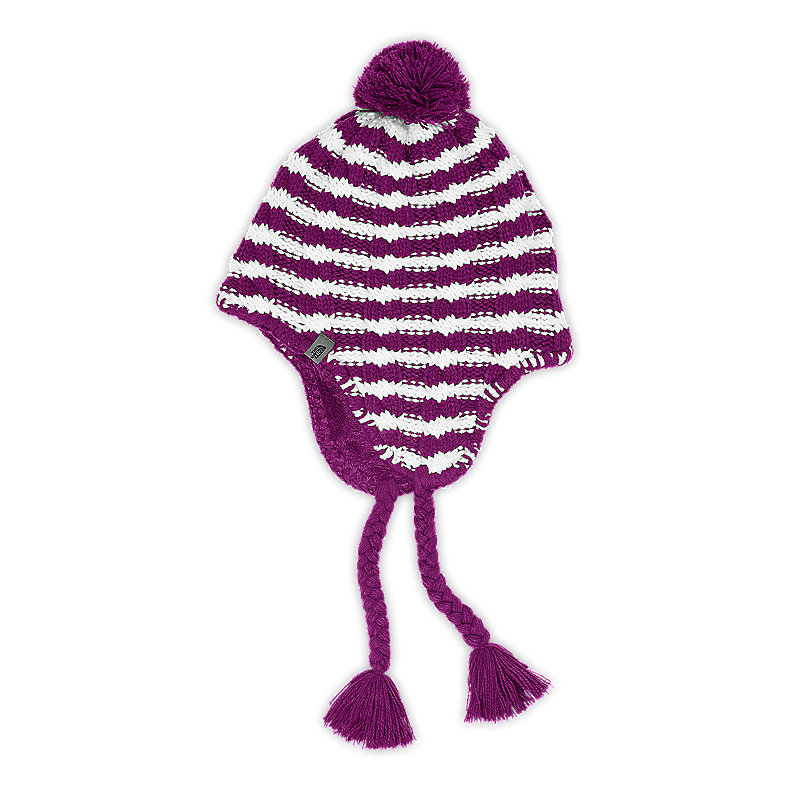 NORTH FACE GIRLS FUZZY EARFLAP BEANIE PREMIERE PURPLE
