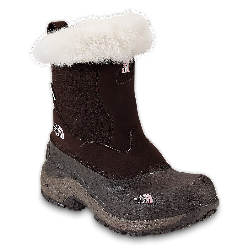 NORTH FACE GIRLS GREENLAND ZIP BOOT BROWNIE BROWN / PINK LEMONADE