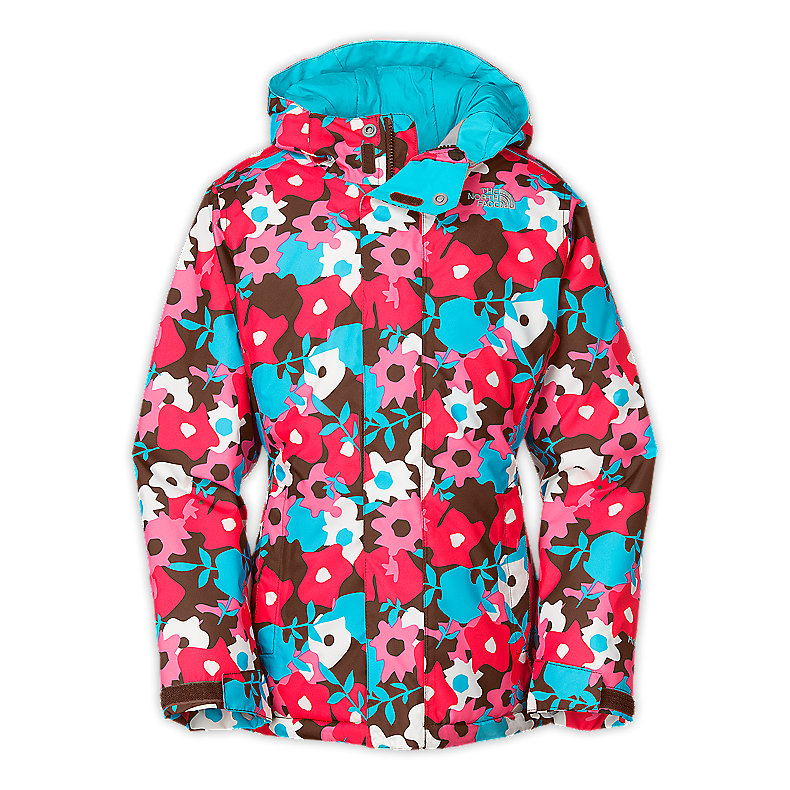NORTH FACE GIRLS INSULATED DENAY JACKET BURROW BROWN FLORAL