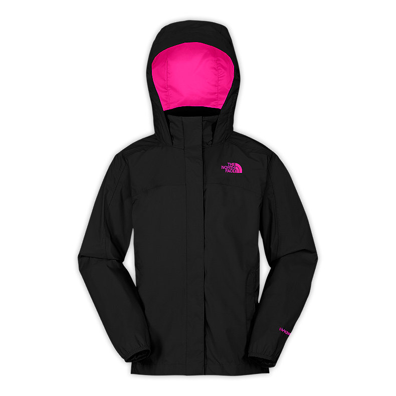NORTH FACE GIRLS RESOLVE JACKET TNF BLACK / RAZZLE PINK