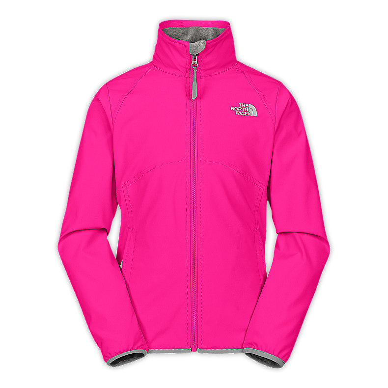 NORTH FACE GIRLS MOSSBUD SOFT SHELL JACKET RAZZLE PINK