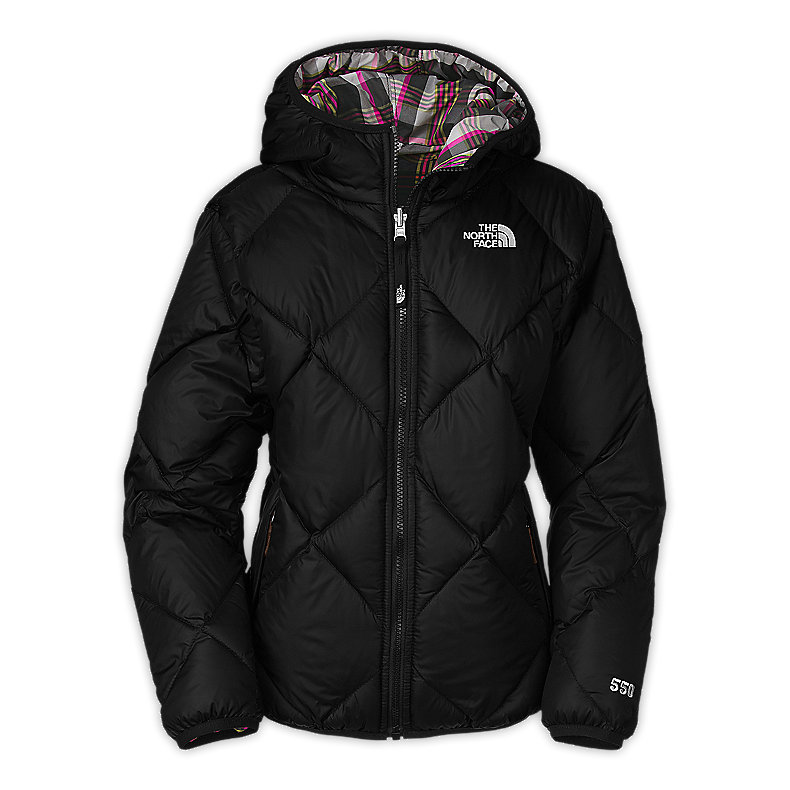 NORTH FACE GIRLS REVERSIBLE DOWN MOONDOGGY JACKET TNF BLACK