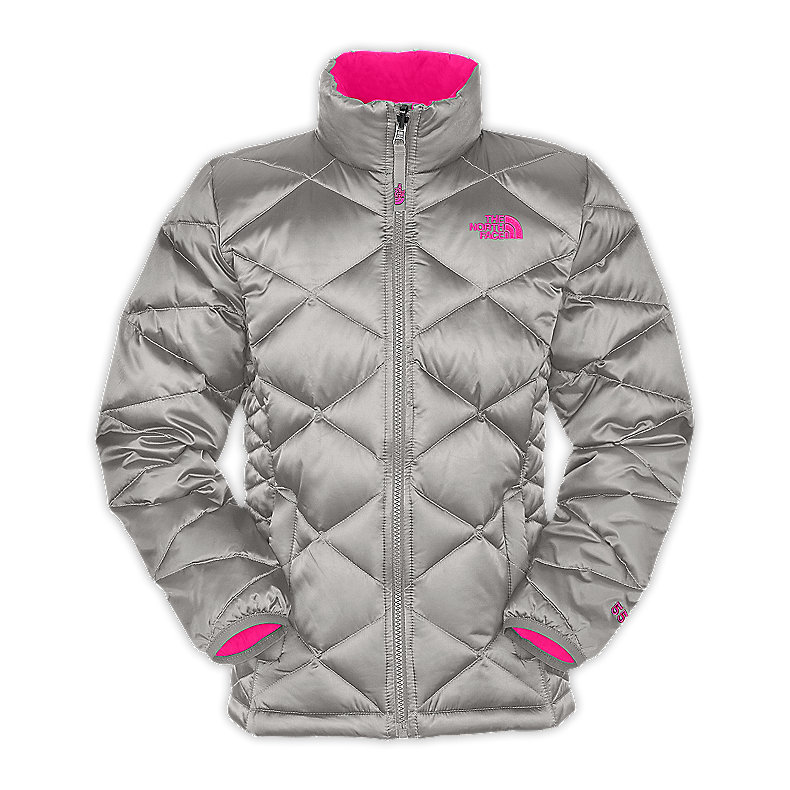 NORTH FACE GIRLS ACONCAGUA JACKET METALLIC SILVER / RAZZLE PINK