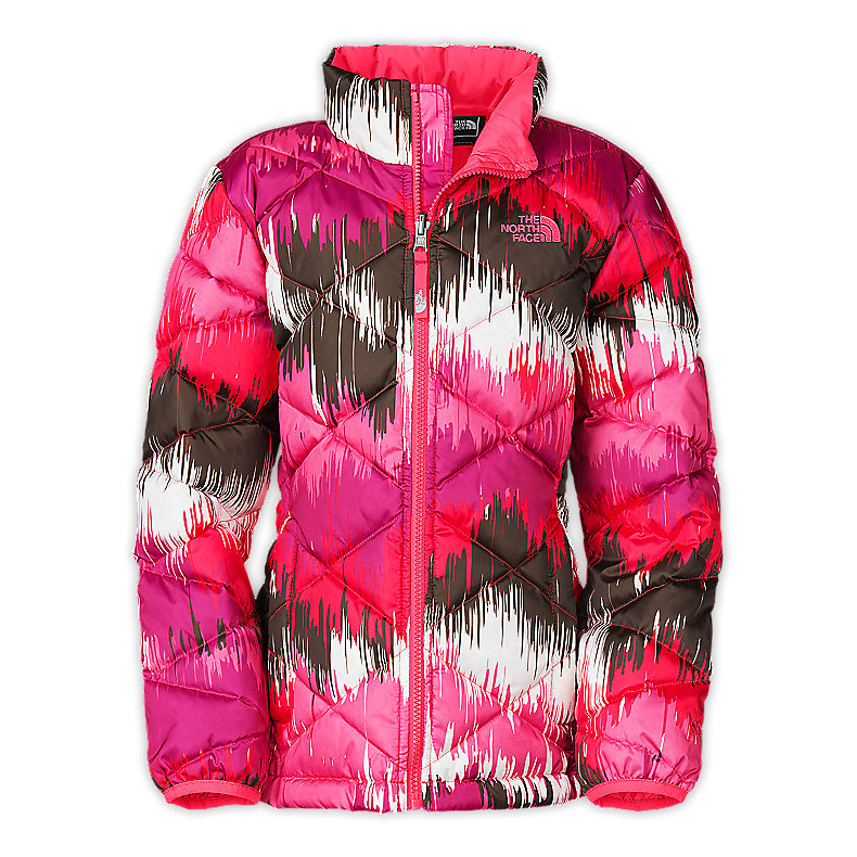 NORTH FACE GIRLS ACONCAGUA JACKET TEABERRY PINK PRINT