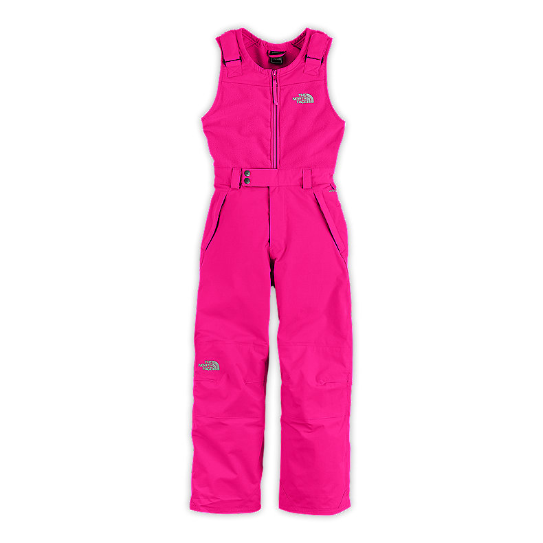 NORTH FACE GIRLS INSULATED SNOWDRIFT BIB RAZZLE PINK