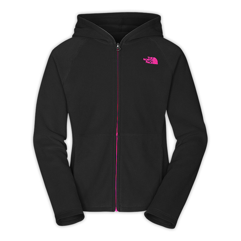NORTH FACE GIRLS GLACIER FULL ZIP HOODIE TNF BLACK / RAZZLE PINK