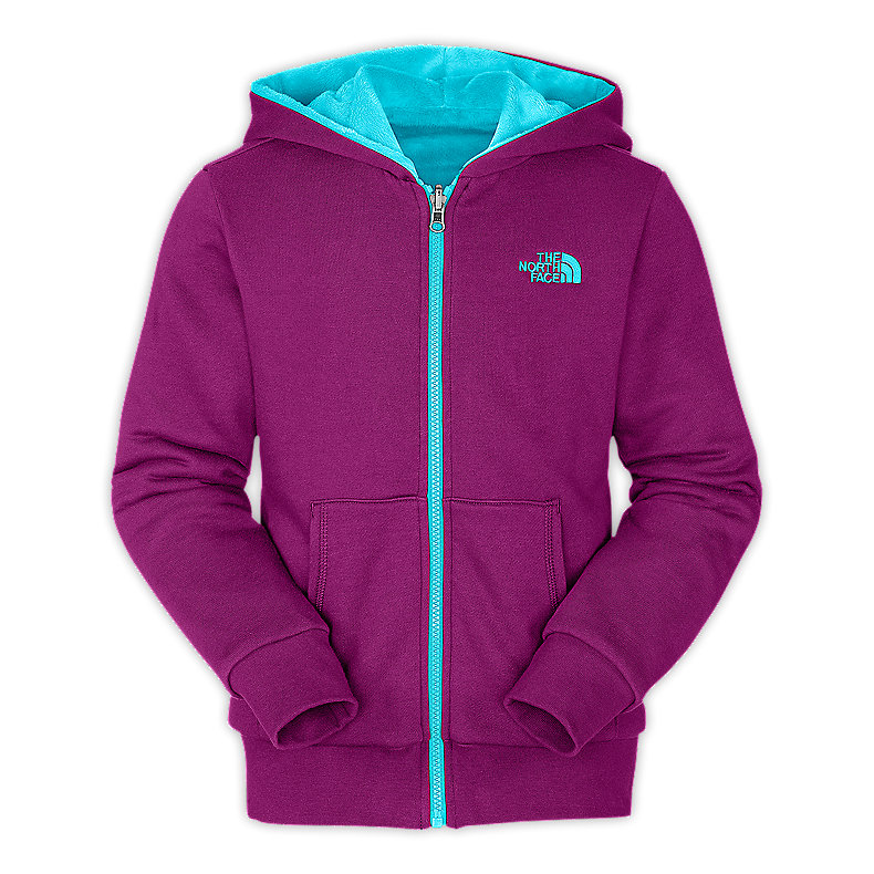 NORTH FACE GIRLS REVERSIBLE ELLOISE FULL ZIP HOODIE PREMIERE PURPLE / TURQUOISE BLUE