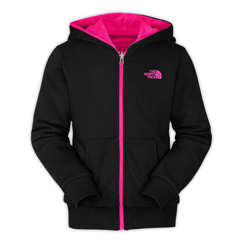 NORTH FACE GIRLS REVERSIBLE ELLOISE FULL ZIP HOODIE TNF BLACK / RAZZLE PINK
