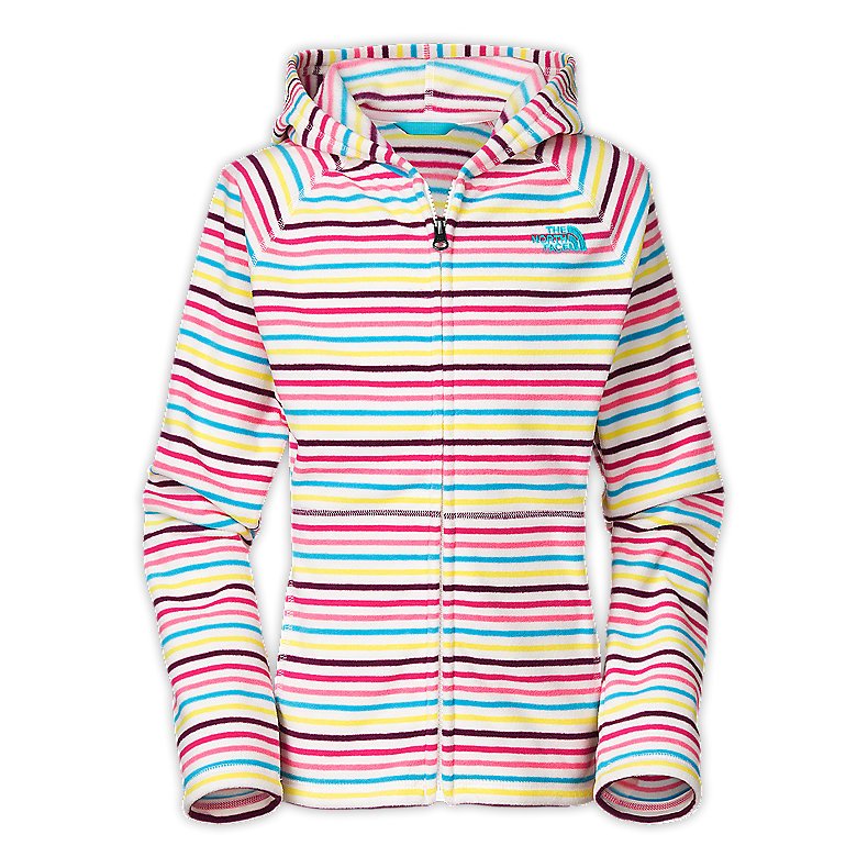 NORTH FACE GIRLS STRIPED GLACIER FULL ZIP HOODIE TNF WHITE STRIPE