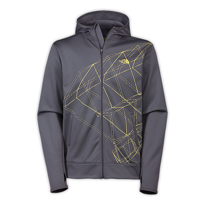 NORTH FACE MEN SURGENT PRINTED FULL ZIP HOODIE GRAPHITE GREY / LIGHTNING YELLOW