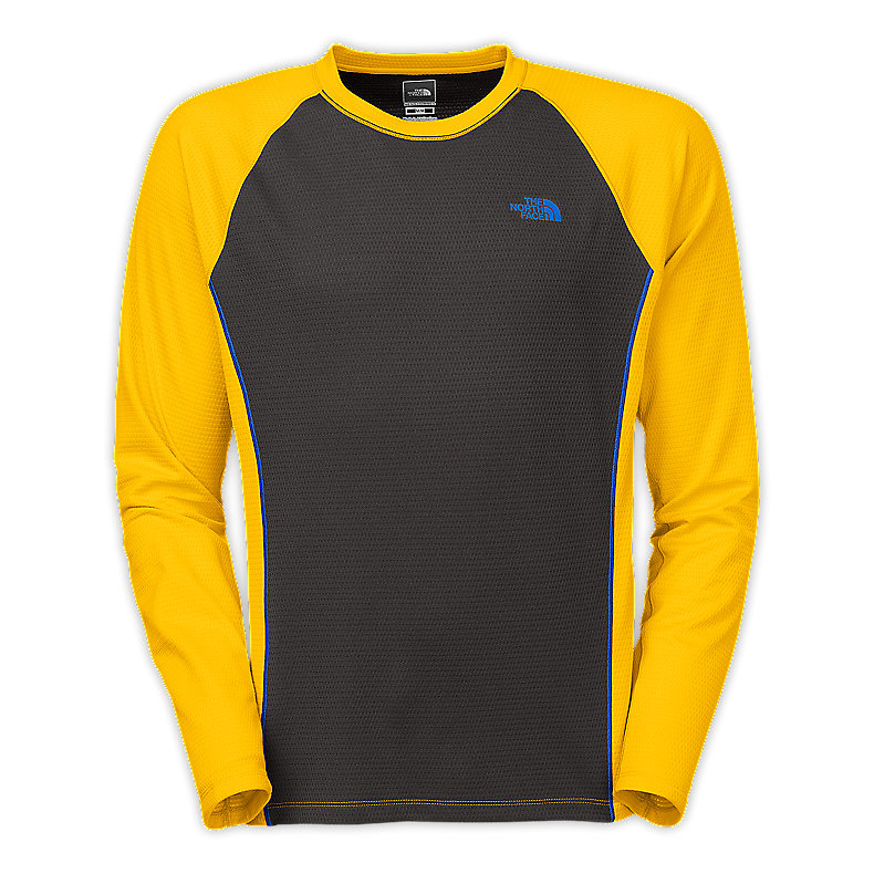 NORTH FACE MEN SPLIT LONG-SLEEVE CREW LEOPARD YELLOW / ASPHALT GREY