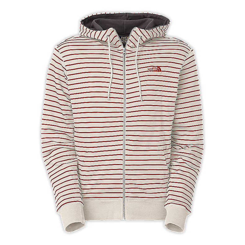 NORTH FACE MEN STRIPED TANMANMAC FULL ZIP HOODIE RED CLAY