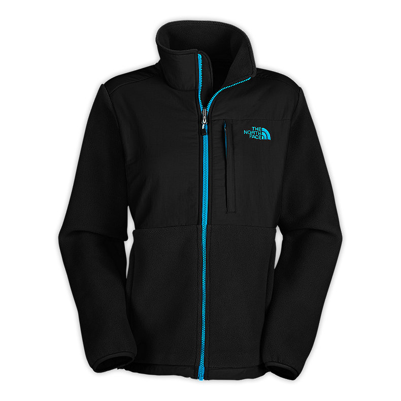 NORTH FACE WOMEN DENALI JACKET TNF BLACK / TURQUOISE BLUE